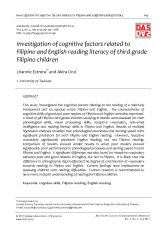 Investigation of cognitive factors related to Filipino and English reading literacy of third-grade Filipino children