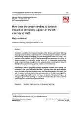 2. How does the understanding of dyslexia impact on University support in the UK: a survey of staff