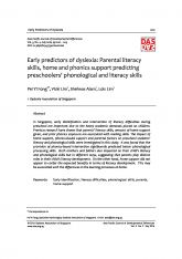 3. Early predictors of dyslexia: Parental literacy skills, home and phonics support predicting preschoolers