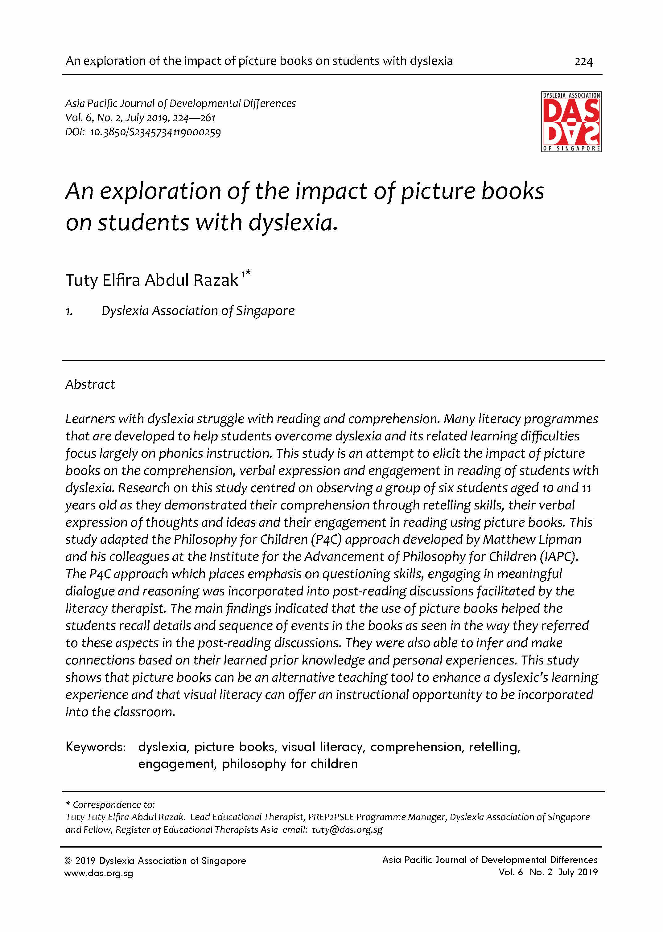4. An exploration of the impact of picture books on students with dyslexia.