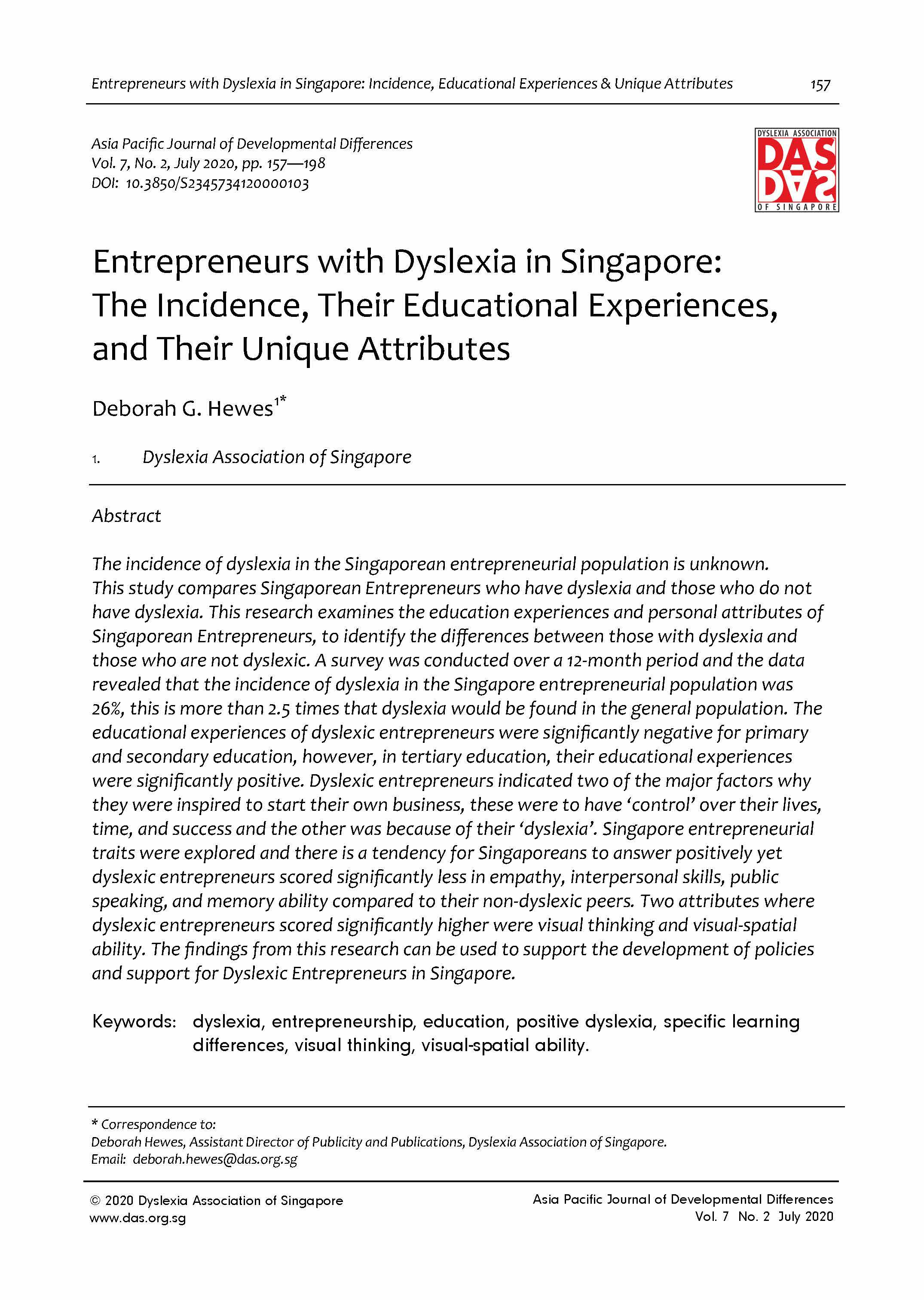 2. Entrepreneurs with Dyslexia in Singapore: The Incidence, Their Educational Experiences, and Their Unique Attributes